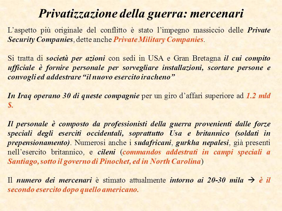 Privatizzazione della guerra: mercenari