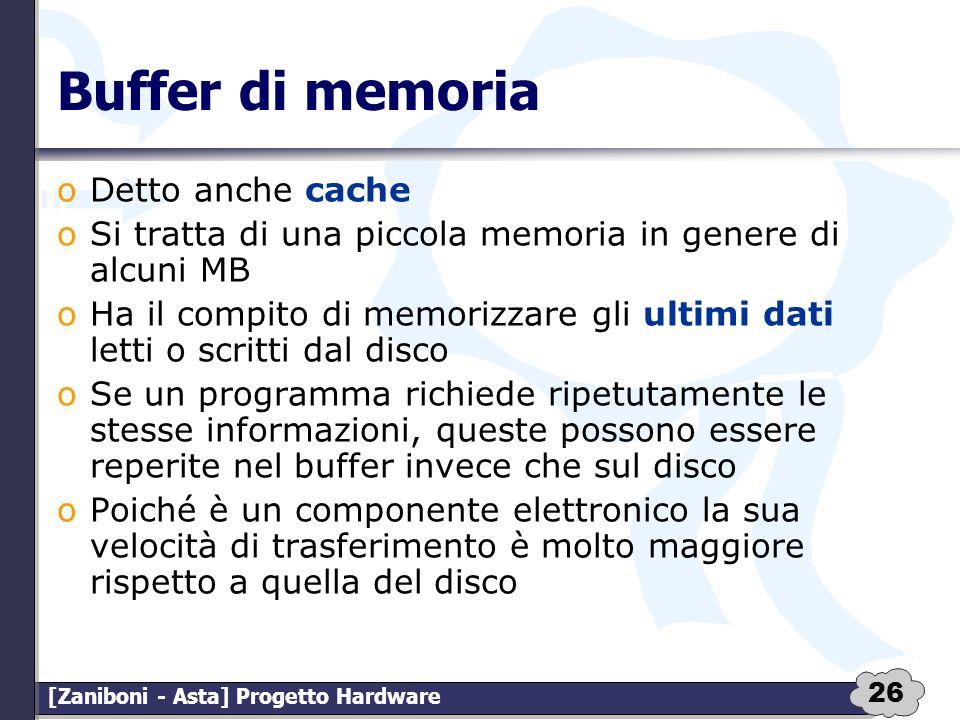 Buffer di memoria Detto anche cache