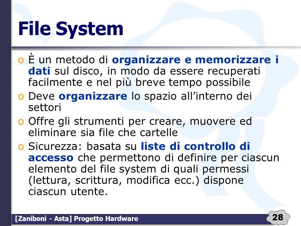 File System È un metodo di organizzare e memorizzare i dati sul disco, in modo da essere recuperati facilmente e nel più breve tempo possibile.