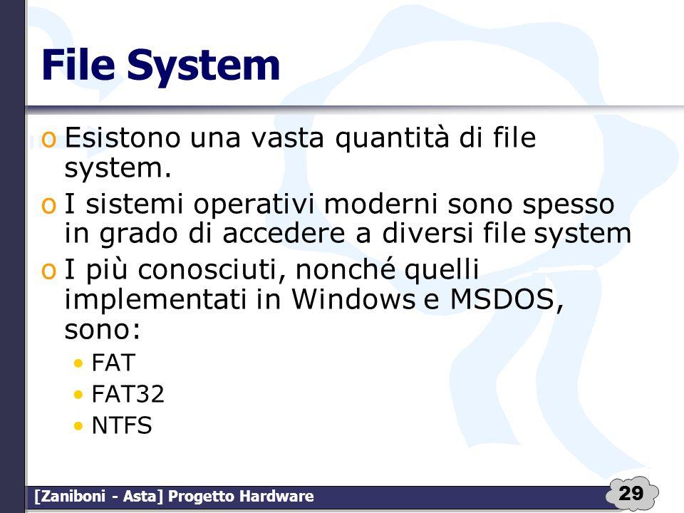 File System Esistono una vasta quantità di file system.