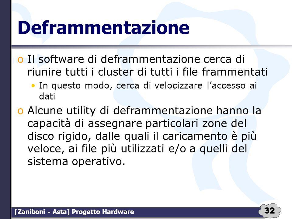 Deframmentazione Il software di deframmentazione cerca di riunire tutti i cluster di tutti i file frammentati.