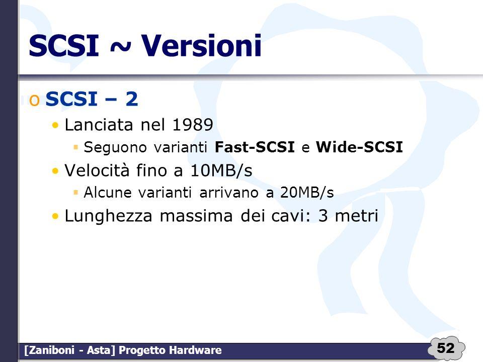 SCSI ~ Versioni SCSI – 2 Lanciata nel 1989 Velocità fino a 10MB/s