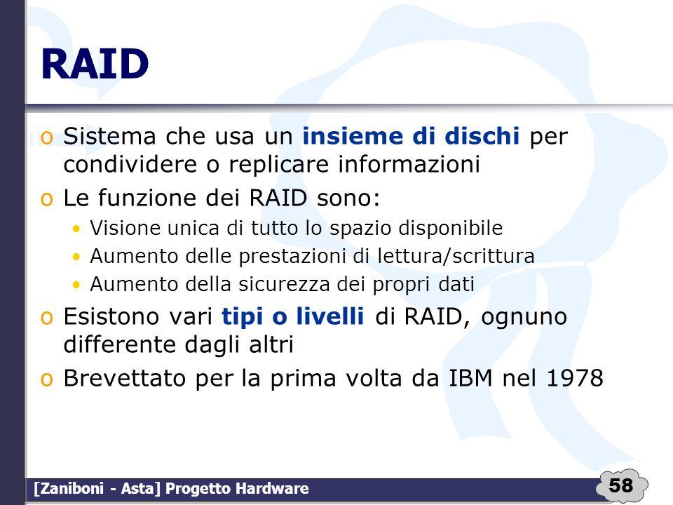 RAID Sistema che usa un insieme di dischi per condividere o replicare informazioni. Le funzione dei RAID sono: