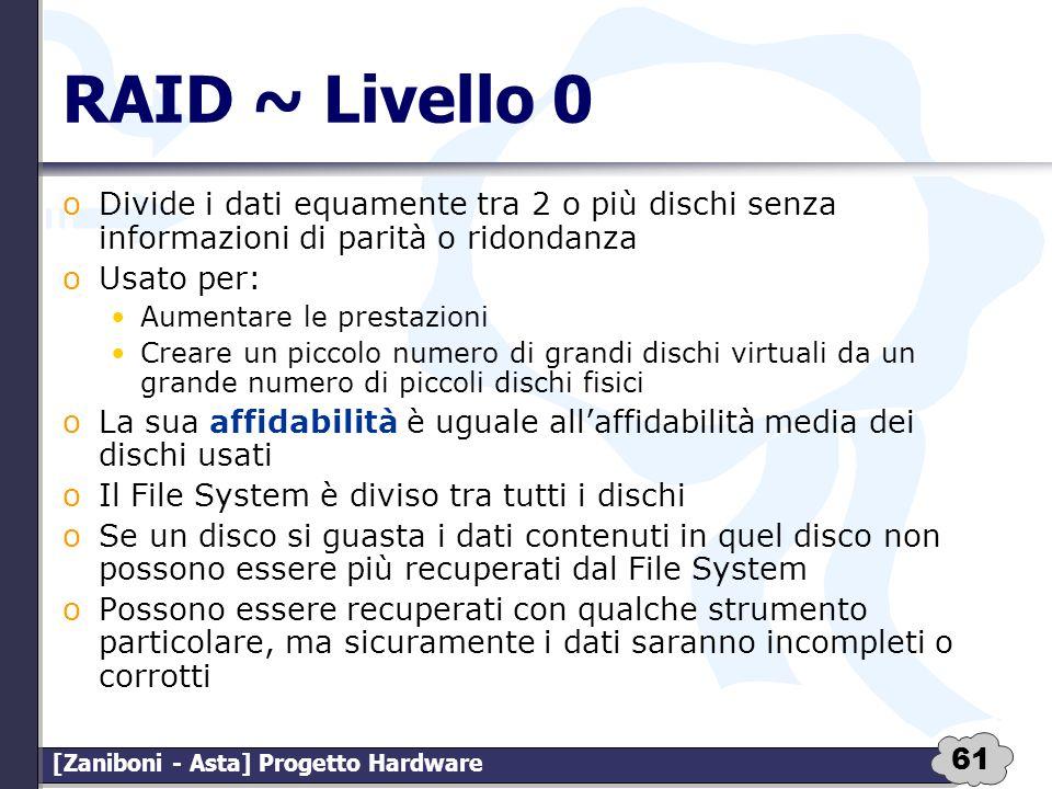 RAID ~ Livello 0 Divide i dati equamente tra 2 o più dischi senza informazioni di parità o ridondanza.