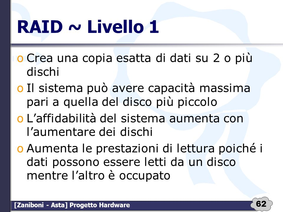 RAID ~ Livello 1 Crea una copia esatta di dati su 2 o più dischi