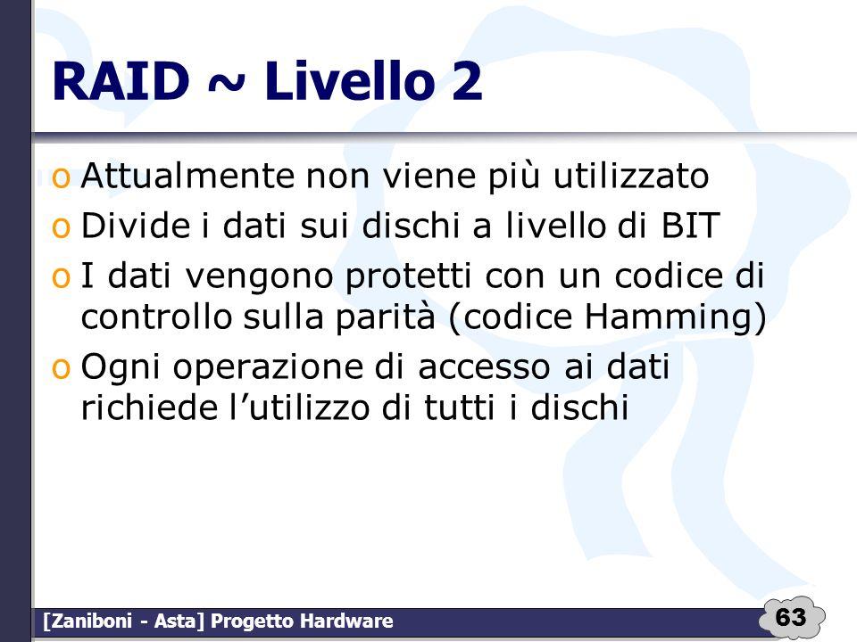 RAID ~ Livello 2 Attualmente non viene più utilizzato