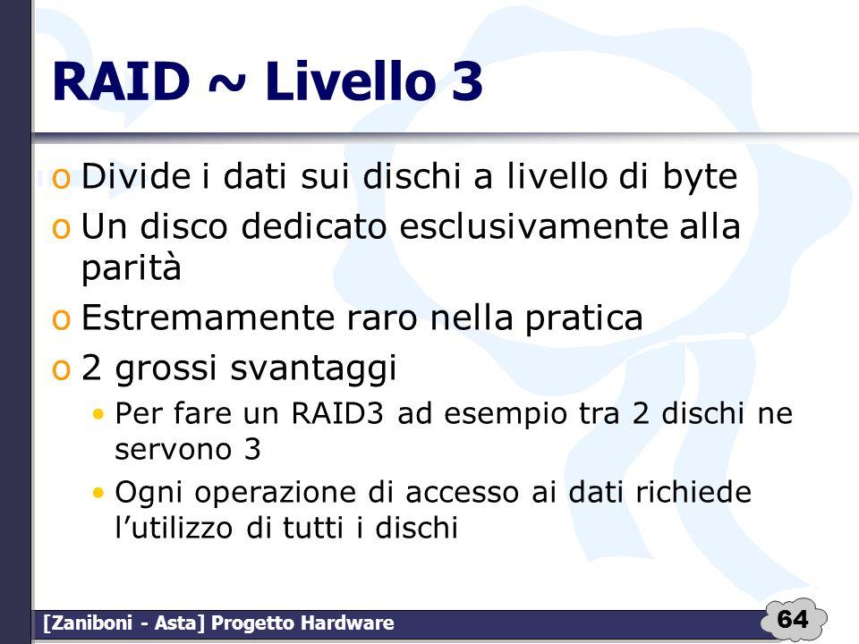 RAID ~ Livello 3 Divide i dati sui dischi a livello di byte