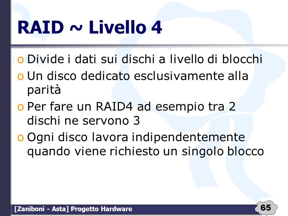 RAID ~ Livello 4 Divide i dati sui dischi a livello di blocchi