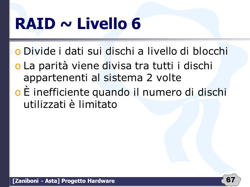 RAID ~ Livello 6 Divide i dati sui dischi a livello di blocchi