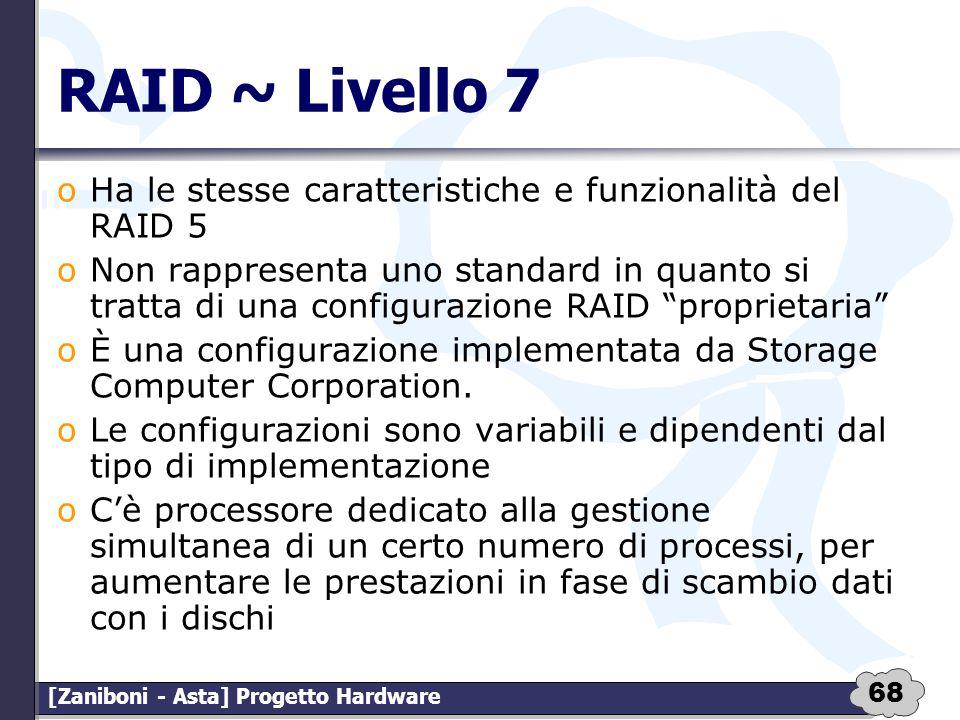 RAID ~ Livello 7 Ha le stesse caratteristiche e funzionalità del RAID 5.