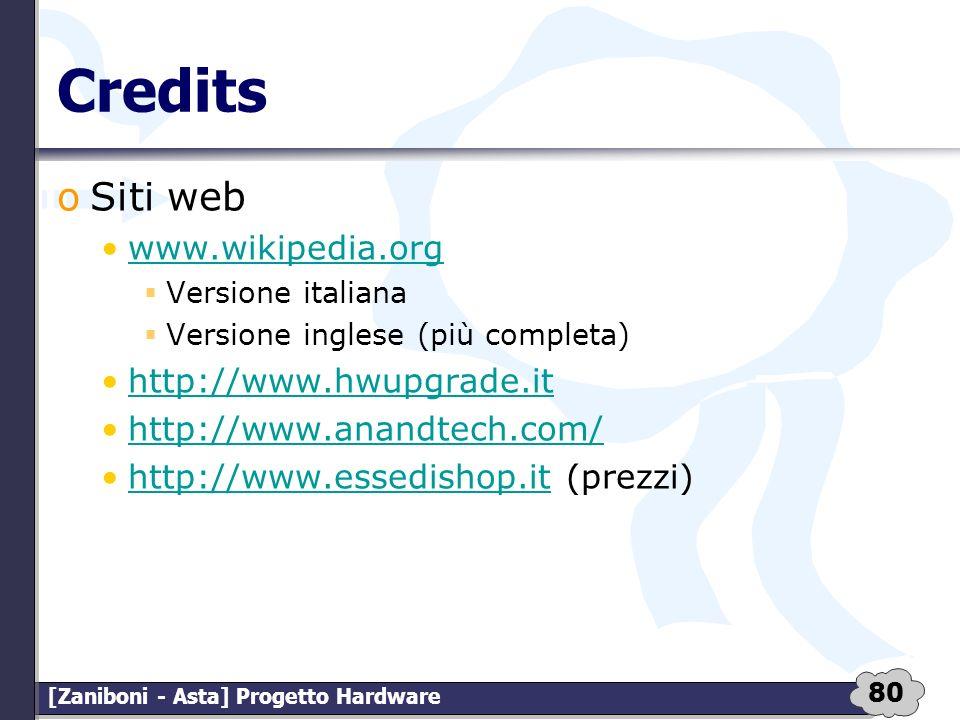 Credits Siti web. www.wikipedia.org. Versione italiana. Versione inglese (più completa) http://www.hwupgrade.it.