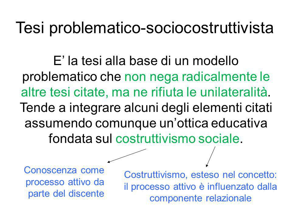 Tesi problematico-sociocostruttivista
