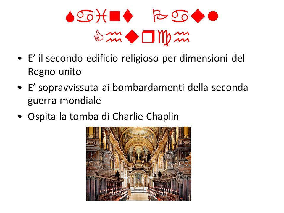 Saint Paul ChurchE' il secondo edificio religioso per dimensioni del Regno unito. E' sopravvissuta ai bombardamenti della seconda guerra mondiale.