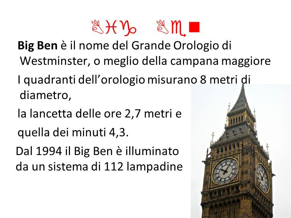 Big Ben Big Ben è il nome del Grande Orologio di Westminster, o meglio della campana maggiore.