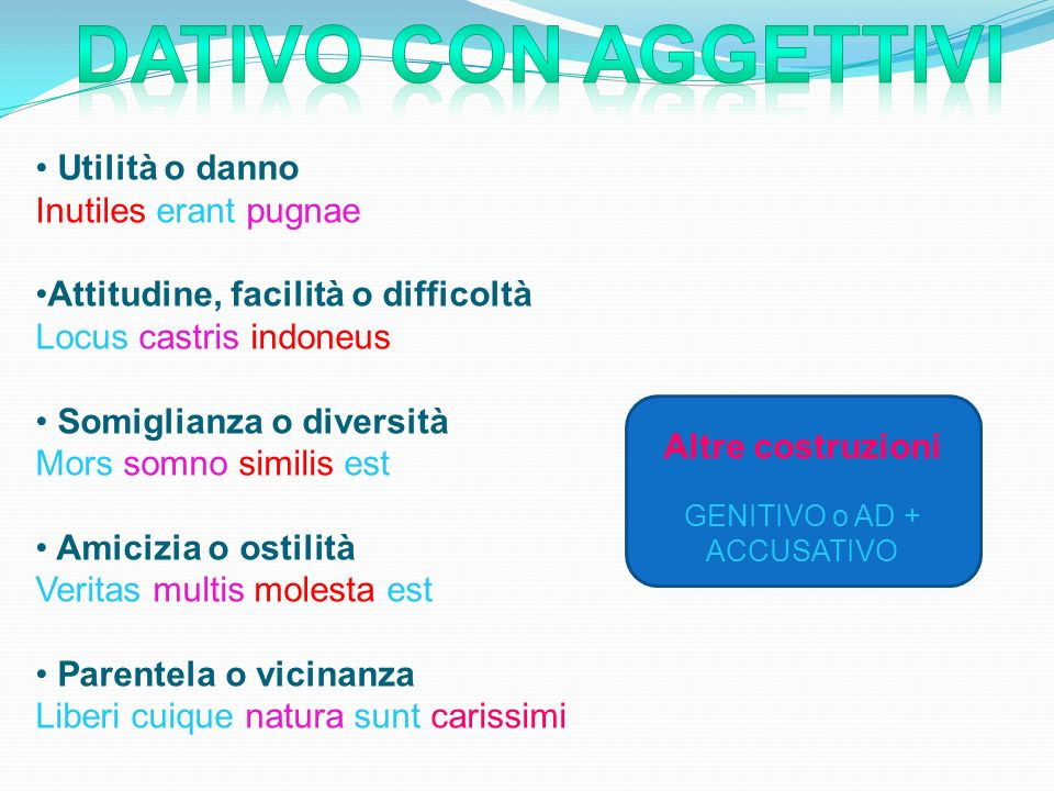 GENITIVO o AD + ACCUSATIVO