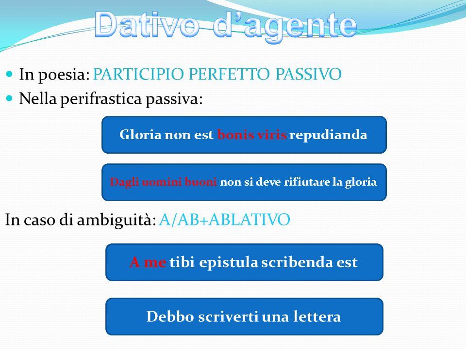 Dativo d'agente In poesia: PARTICIPIO PERFETTO PASSIVO