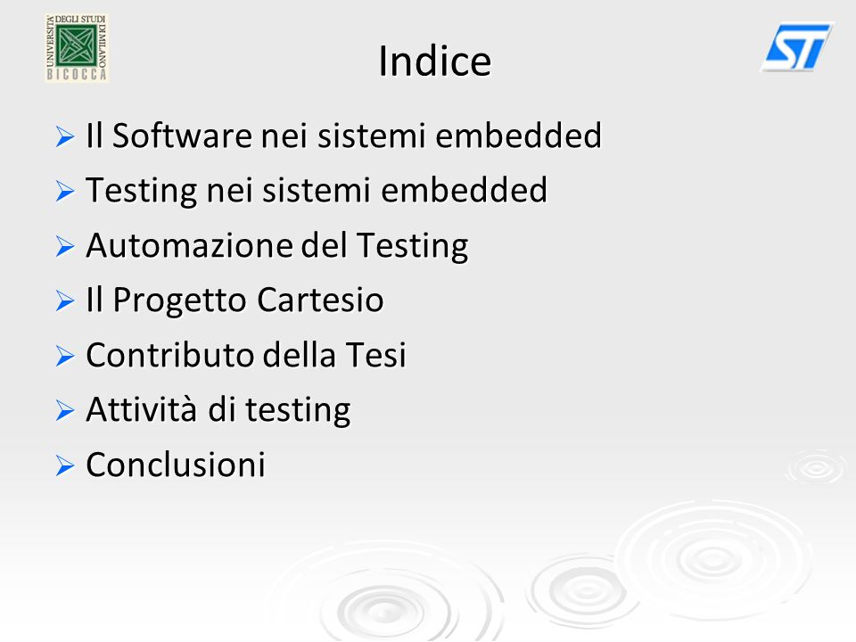 Indice Il Software nei sistemi embedded Testing nei sistemi embedded