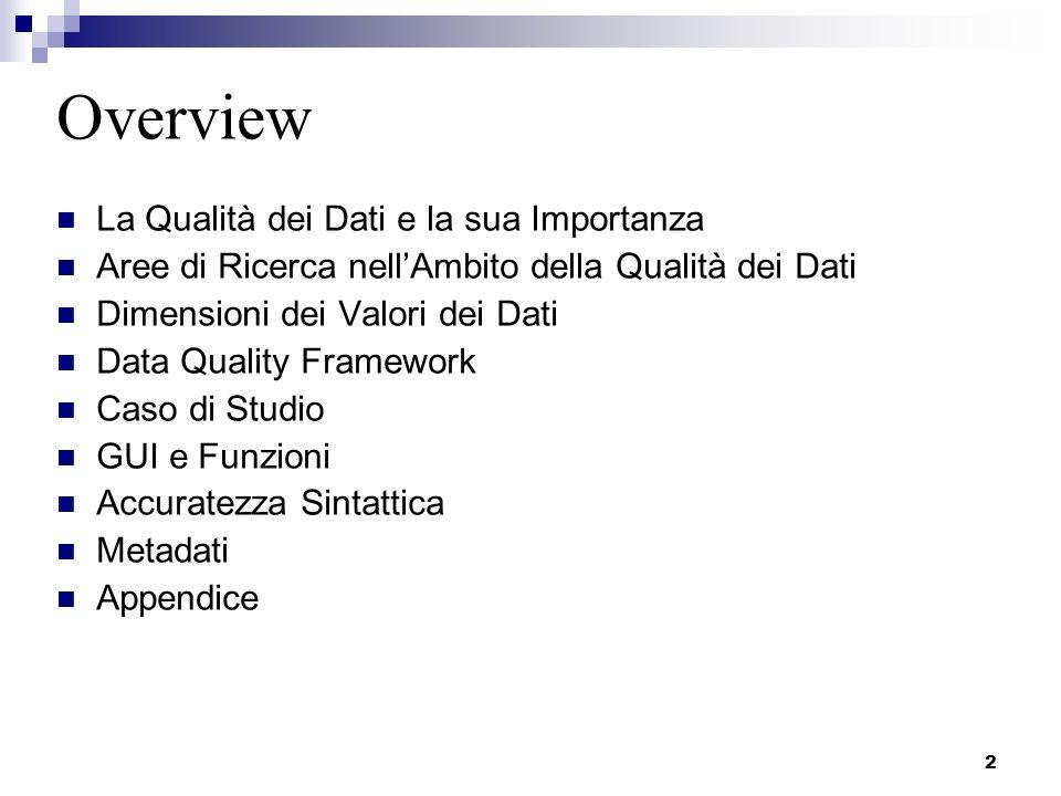 Overview La Qualità dei Dati e la sua Importanza
