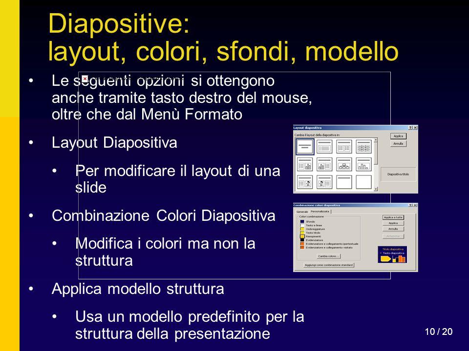 Diapositive: layout, colori, sfondi, modello