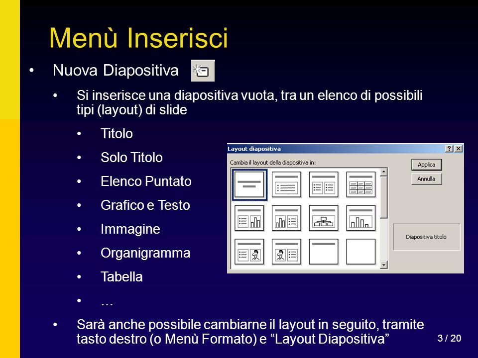 Menù Inserisci Nuova Diapositiva