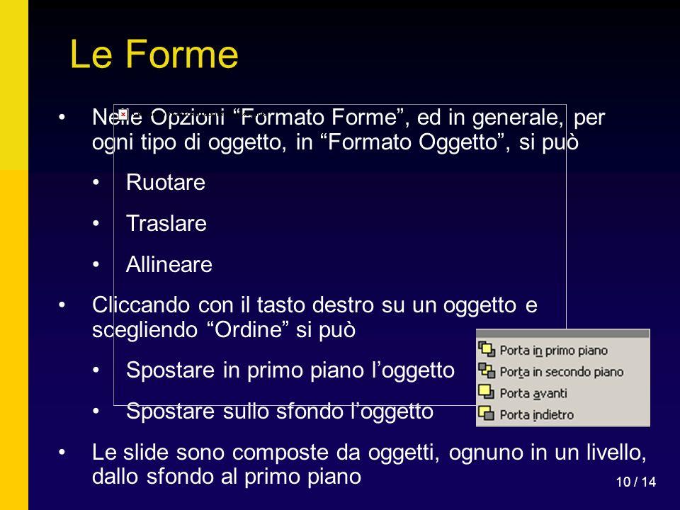 Le Forme Nelle Opzioni Formato Forme , ed in generale, per ogni tipo di oggetto, in Formato Oggetto , si può.