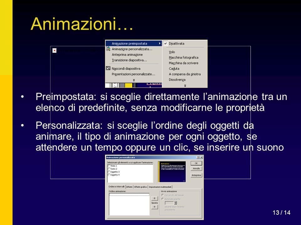 Animazioni… Preimpostata: si sceglie direttamente l'animazione tra un elenco di predefinite, senza modificarne le proprietà.