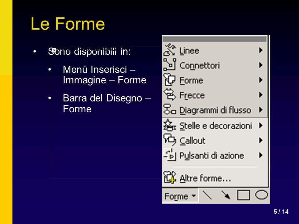 Le Forme Sono disponibili in: Menù Inserisci – Immagine – Forme