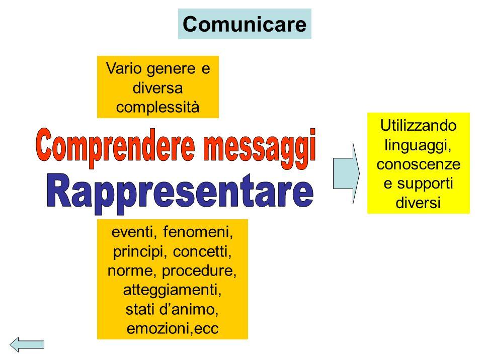 Comprendere messaggi Rappresentare Comunicare