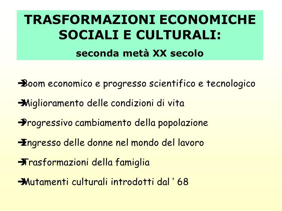 TRASFORMAZIONI ECONOMICHE SOCIALI E CULTURALI: