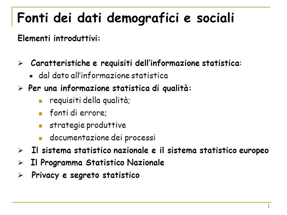 Fonti dei dati demografici e sociali