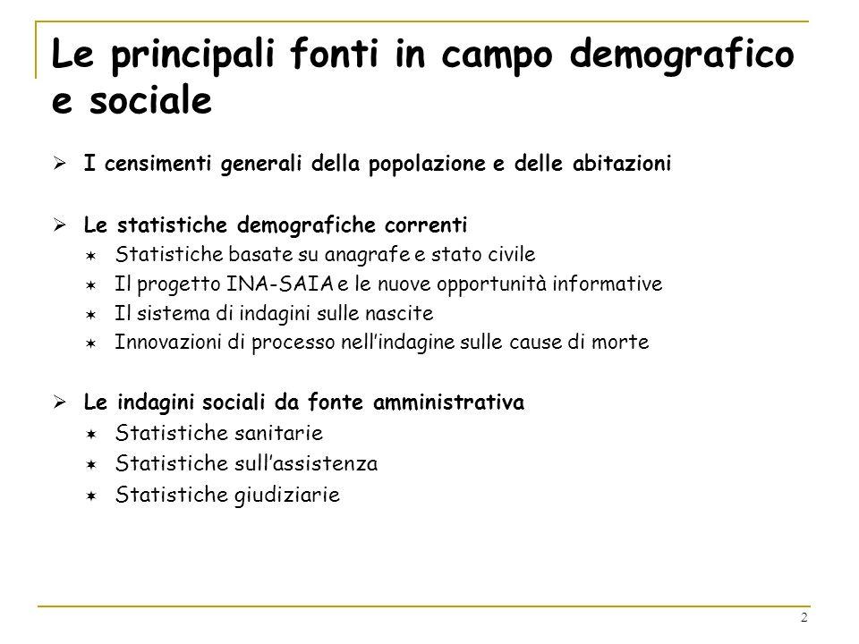Le principali fonti in campo demografico e sociale