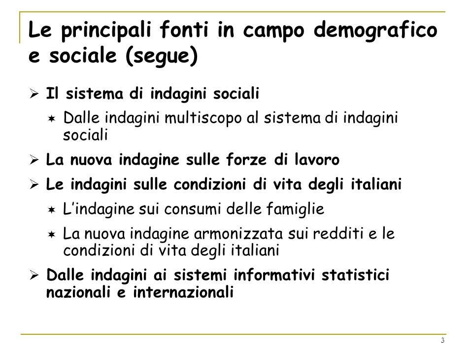 Le principali fonti in campo demografico e sociale (segue)
