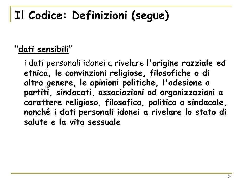 Il Codice: Definizioni (segue)