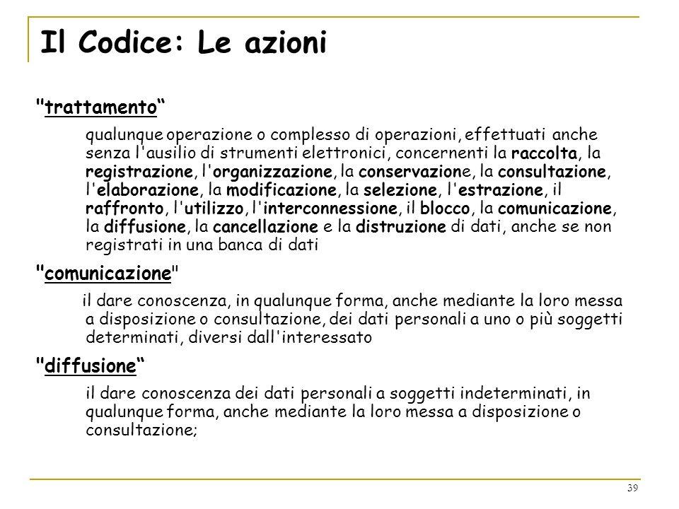 Il Codice: Le azioni trattamento comunicazione diffusione