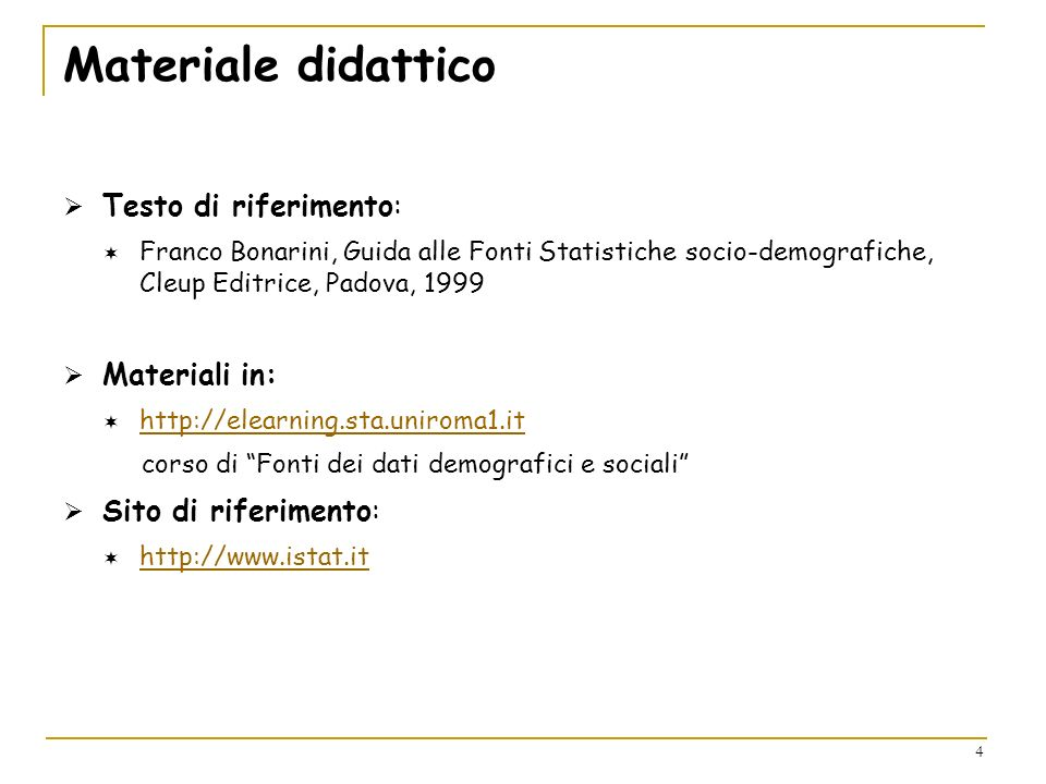 Materiale didattico Testo di riferimento: Materiali in: