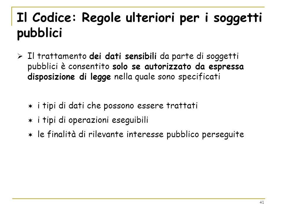 Il Codice: Regole ulteriori per i soggetti pubblici