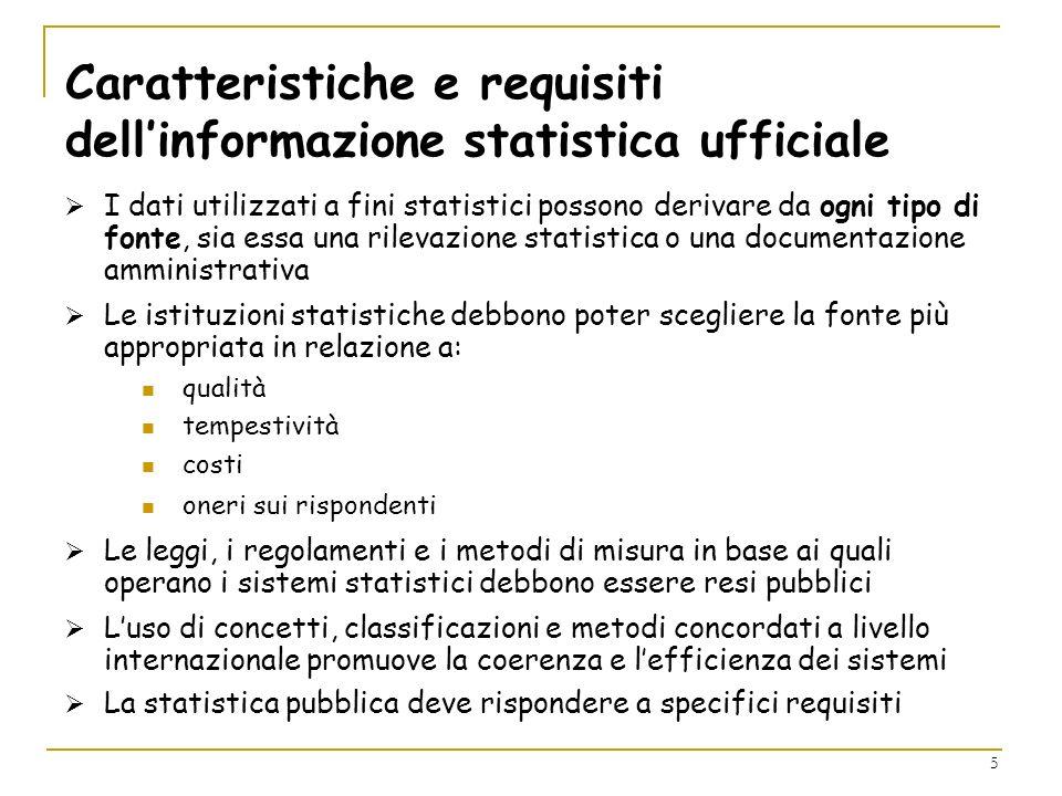 Caratteristiche e requisiti dell'informazione statistica ufficiale