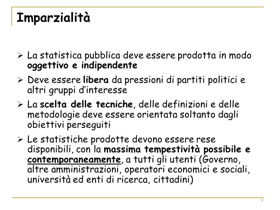 Imparzialità La statistica pubblica deve essere prodotta in modo oggettivo e indipendente.