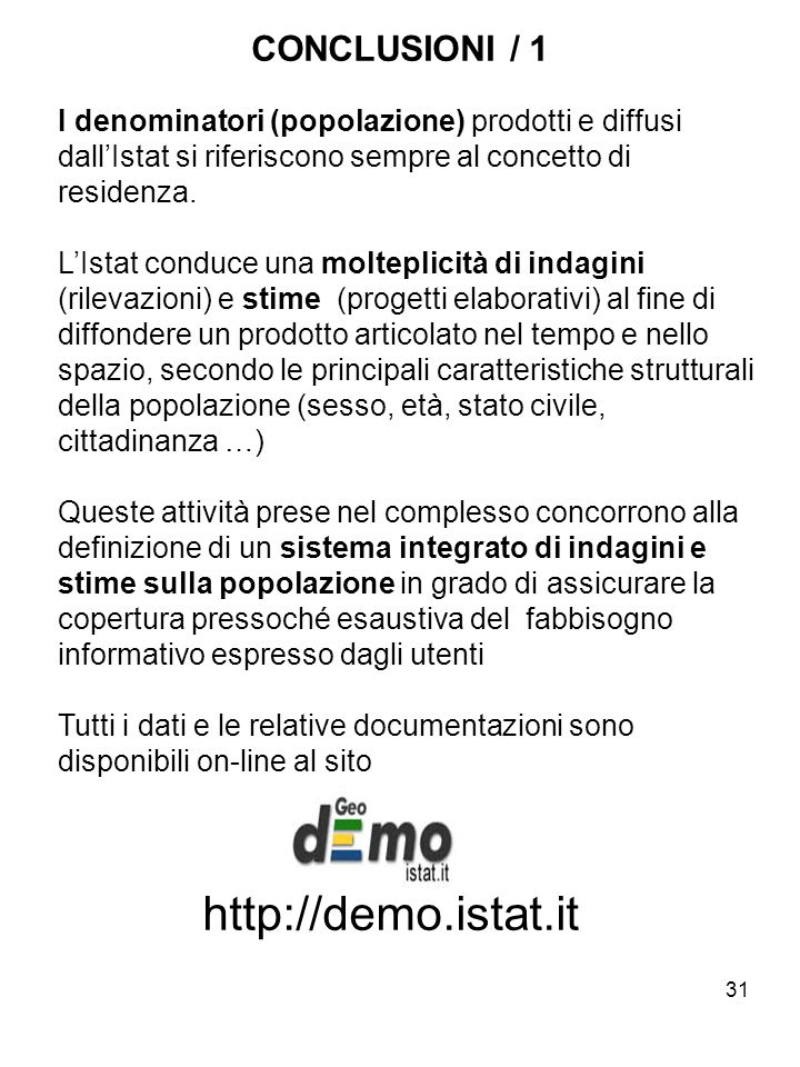 http://demo.istat.it CONCLUSIONI / 1