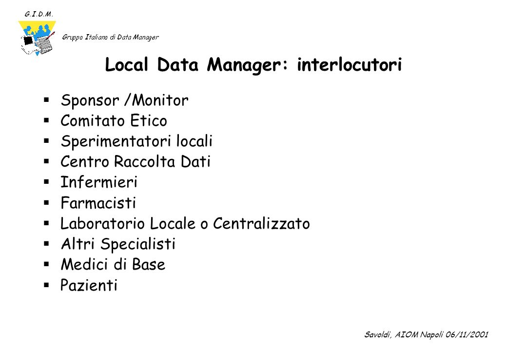 Local Data Manager: interlocutori