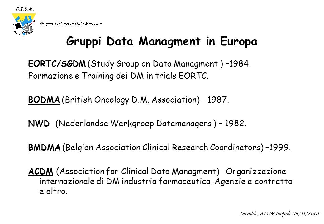 Gruppi Data Managment in Europa