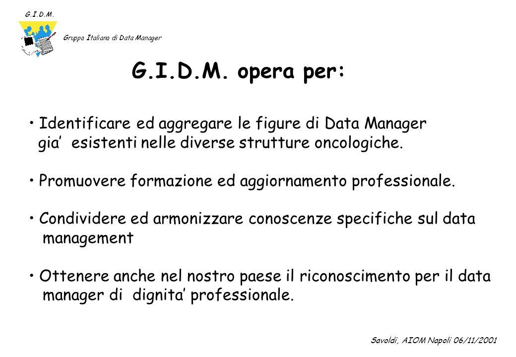 G.I.D.M. opera per: Identificare ed aggregare le figure di Data Manager. gia' esistenti nelle diverse strutture oncologiche.
