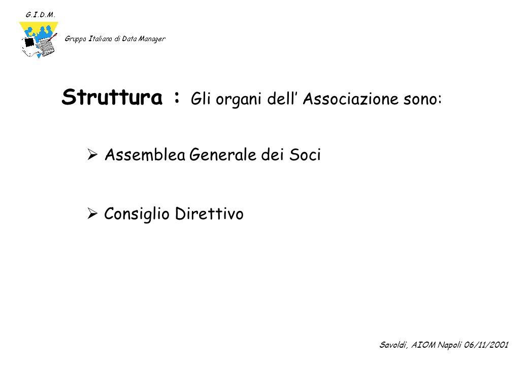 Struttura : Gli organi dell' Associazione sono: