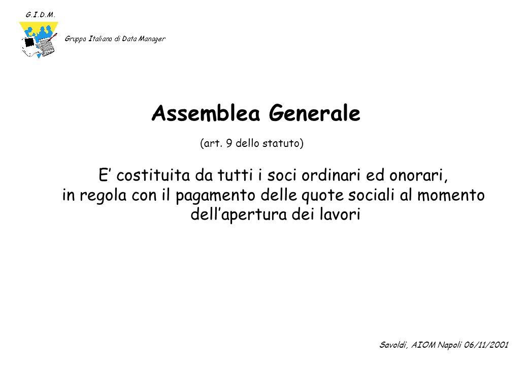 Assemblea Generale E' costituita da tutti i soci ordinari ed onorari,