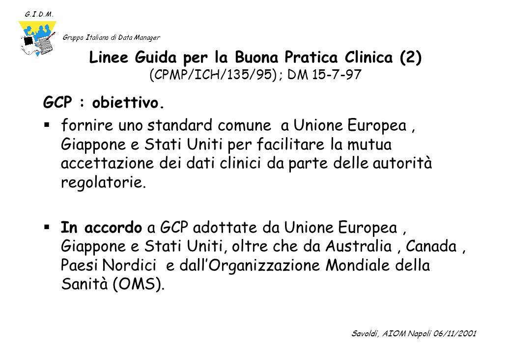 Linee Guida per la Buona Pratica Clinica (2) (CPMP/ICH/135/95) ; DM 15-7-97
