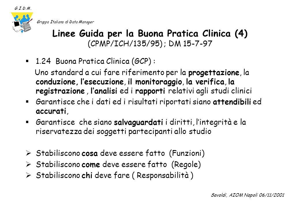 Linee Guida per la Buona Pratica Clinica (4) (CPMP/ICH/135/95) ; DM 15-7-97