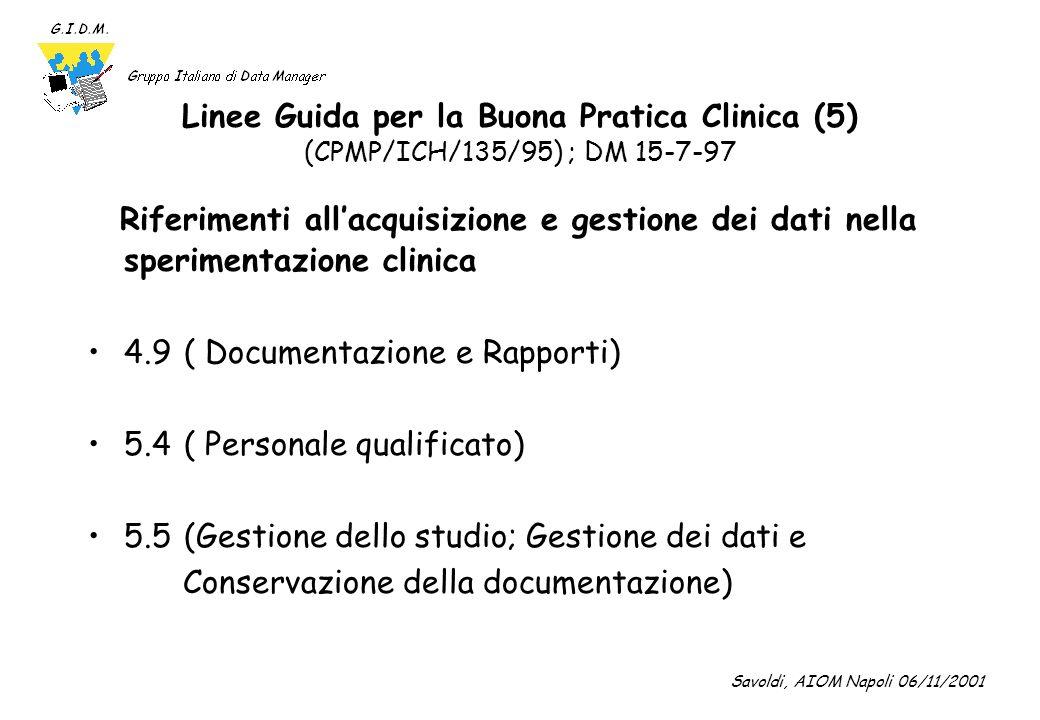 Linee Guida per la Buona Pratica Clinica (5) (CPMP/ICH/135/95) ; DM 15-7-97