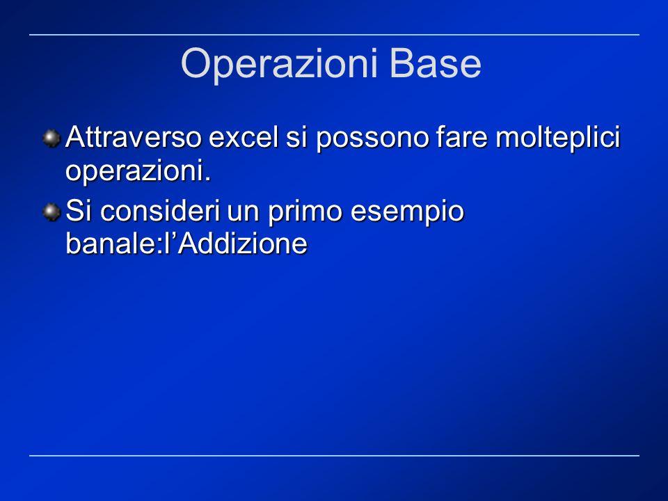 Operazioni Base Attraverso excel si possono fare molteplici operazioni.