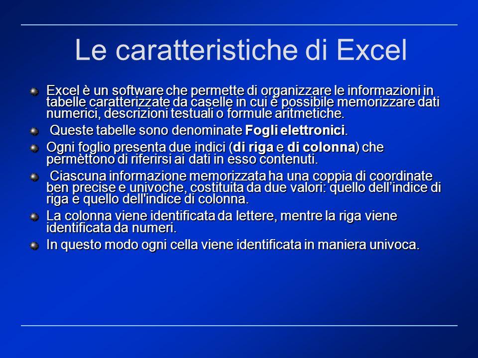 Le caratteristiche di Excel
