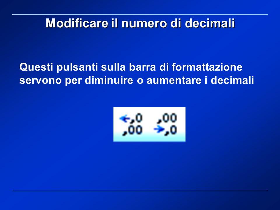 Modificare il numero di decimali